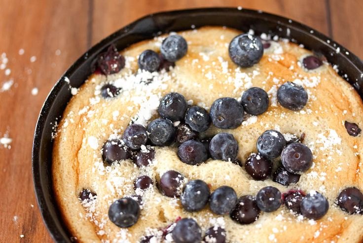 Honey Cloud Pancakes - Honey cloud pancakes with fruit. Light, eggy and sweet, they're the perfect cross between a pancake and a Dutch baby