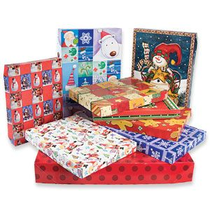 """Product # PK80623 - This set of gift boxes is sure to come in handy this Christmas! Beautiful designs in 3 assorted sizes make up this colourful set of 9 boxes. Small: 11""""L x 8""""W x 1""""H, Medium:14-3/4""""L x 9-1/2""""W x 2""""H, Large: 17""""L x 11-1/2""""W x 2-1/2""""H."""