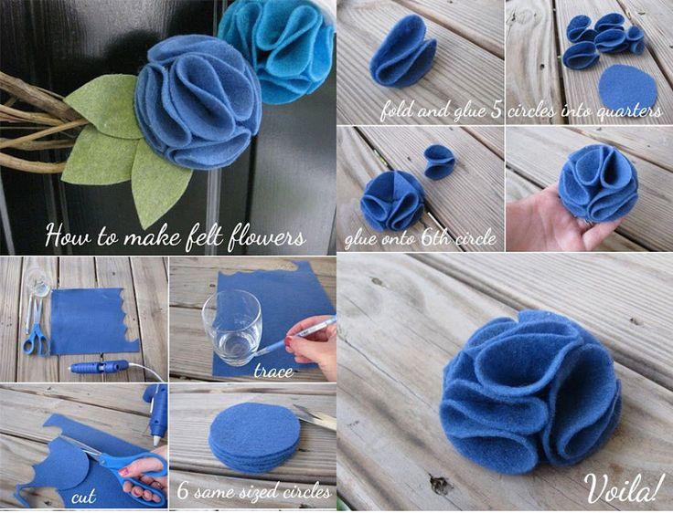 Aprende con estos tutoriales visuales a elaborar flores con fieltro de diferentes tipos y estilos.
