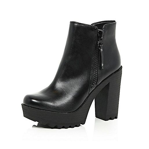 Black cleated sole ankle boots - ankle boots - shoes / boots - women