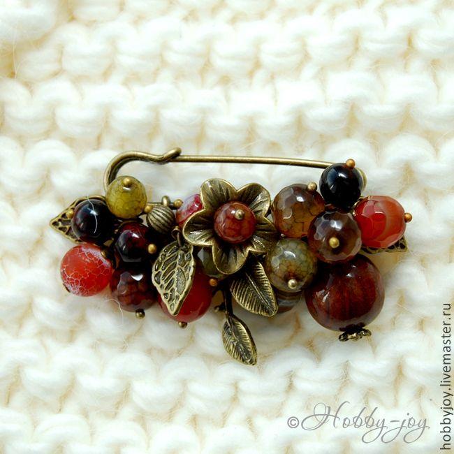 """Купить Брошь """"Осенние дары"""" - агат, сердолик, дерево - брошь, брошь-булавка, брошь с камнями"""