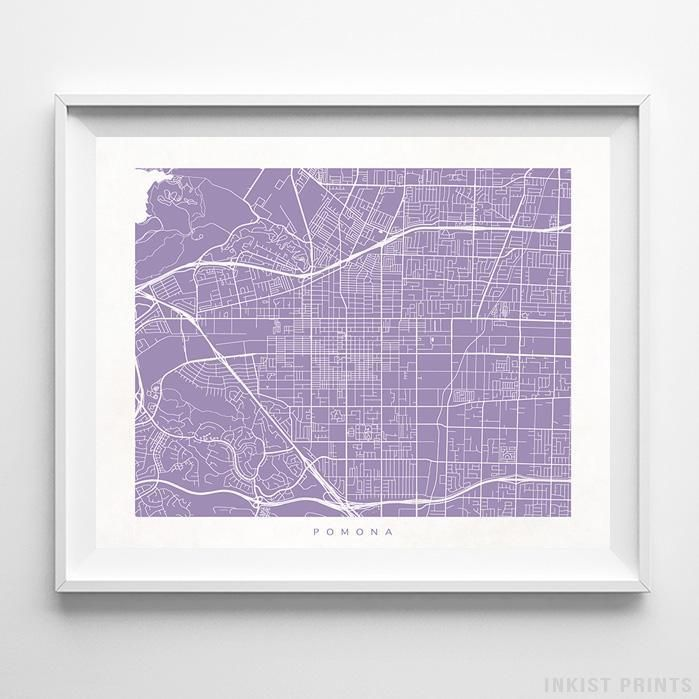 Pomona California Street Map Wall Decor Poster. 70 Color Options. Prices from $9.95. Available at InkistPrints.com - #streetmap#map #homedecor #walldecor #Pomona #California