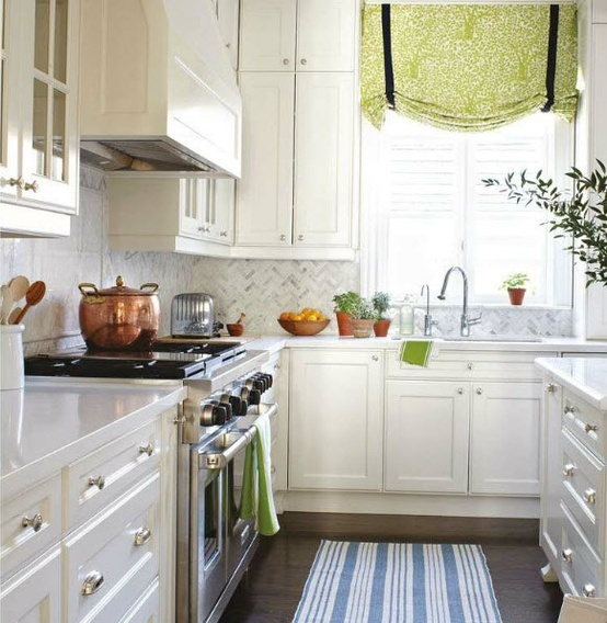 House  Home - Floor to ceiling white kitchen cabinets  kitchen island with marble ...