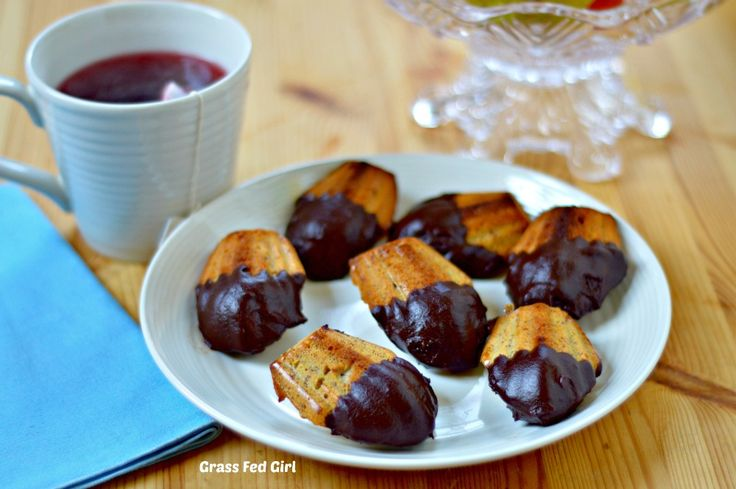 Chocolate Dipped French Madelines (grain free, gluten free and Paleo)