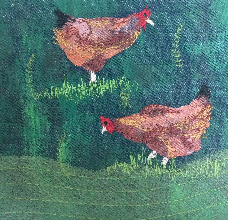 Chrissie's chickens were quarantined for a long stint because of bird flu.   I created this hand painted, machine embroidered textile work after she photographed her hens freedom