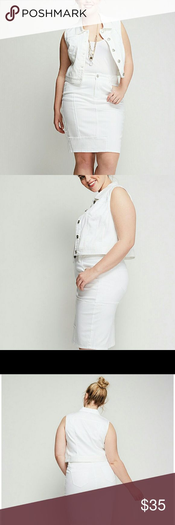 Ultra light white denim vest lane bryant 16 18 NWT Perfect for layering over tanks and dresses, or long sleeves paired with a scarf! Sizes 16 and 18 available Lane Bryant Jackets & Coats Vests