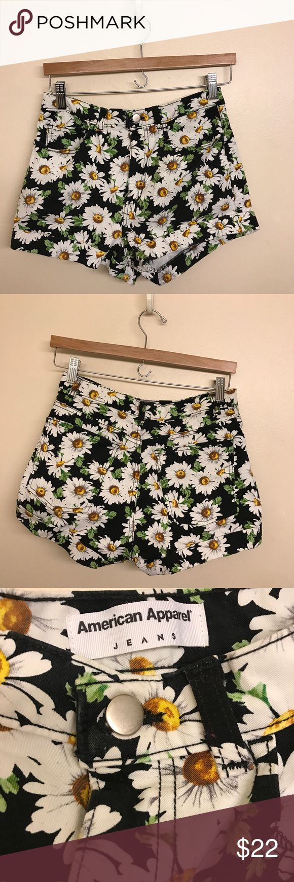 "American Apparel Black Daisy Shorts This is a pair of American Apparel high waisted daisy printed shorts. These are really sturdy and made of high quality material. The size is 28"" which is around a size 4-6 in women's US sizes. These shorts are super comfy and are made of an awesome stretchy material. I love these shorts but unfortunately I've only used them once and they no longer fit. They remain in perfect condition, like new. This statement piece is perfect for any badass' wardrobe…"