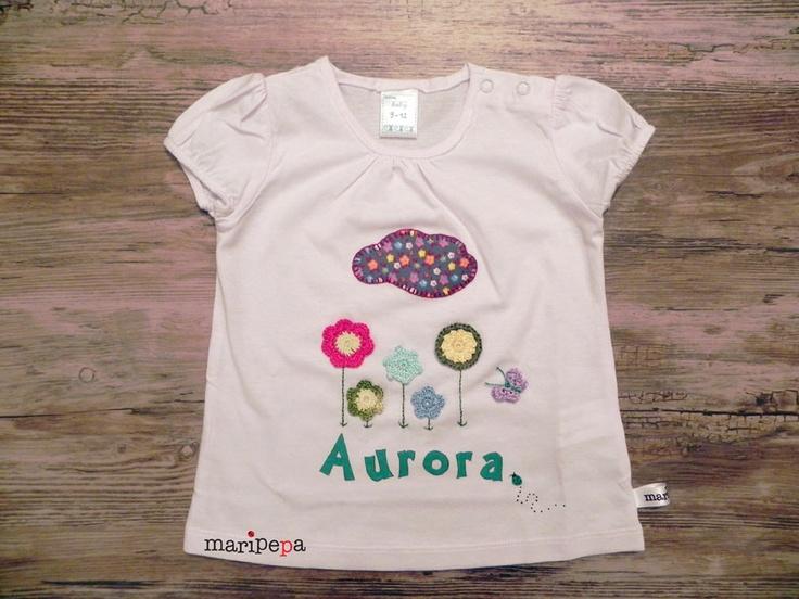 maripepa - camiseta en tela, crochet y pintada a mano