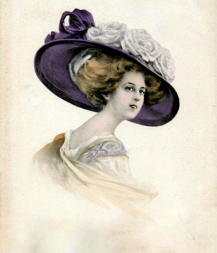 Картинки женщины в шляпках ретро, смыслом картинках прикольные
