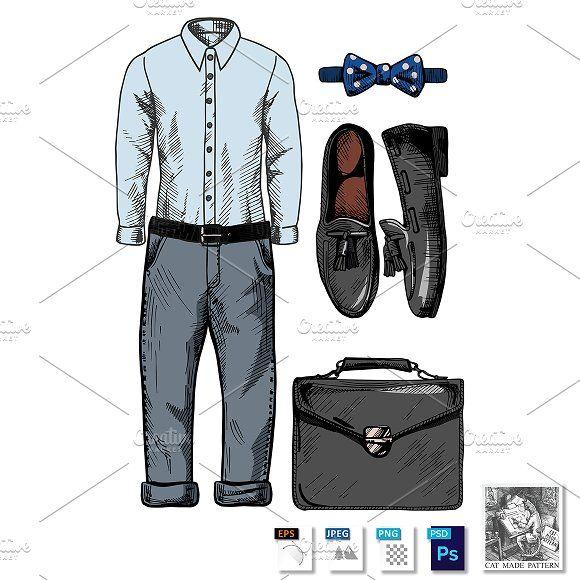 Stylish men's clothing set by CatMadePattern on @creativemarket