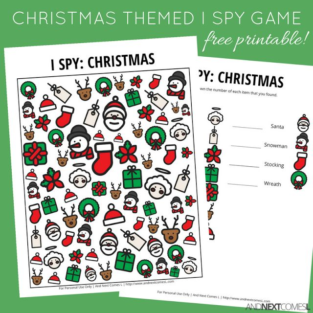 Free Christmas themed I Spy game for kids from And Next Comes L