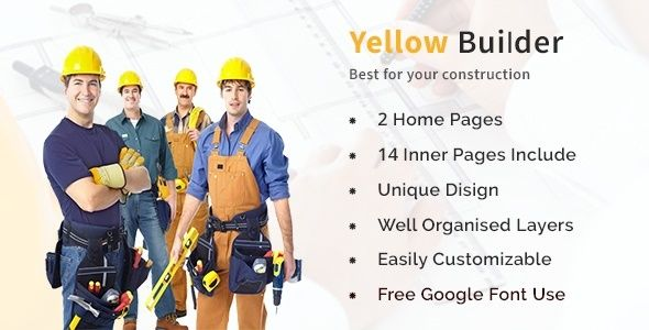 Yellow Builder- Construction Psd Template - PSD Templates Download here : https://themeforest.net/item/yellow-builder-construction-psd-template/19851840?s_rank=125&ref=Al-fatih #psd template #web design #web responsive #psd #blog #business #flat #design #personal #shop #health #trend #technology