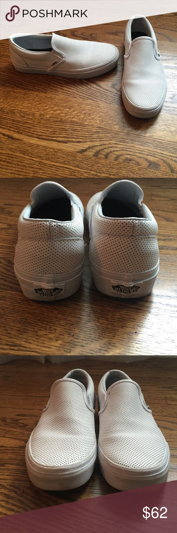 Size 8 White Leather vans Worn 1-2x, Great condition! Vans Shoes Sneakers