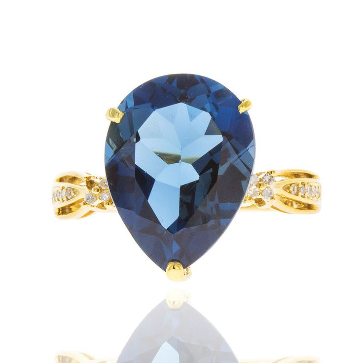 10k Yellow Gold London Blue Topaz Diamond Ring  Size 8  100% REAL #UniQJewels #SolitairewithAccents #Birthday