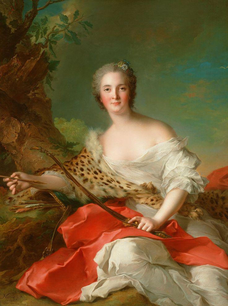 JEAN-MARC NATTIER. Portrait of Constance Gabrielle Magdeleine Bonnier de la Mosson as Diana. 1742.