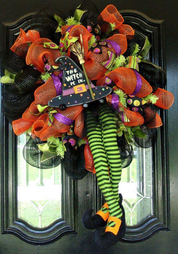 deco mesh halloween witch door wreath