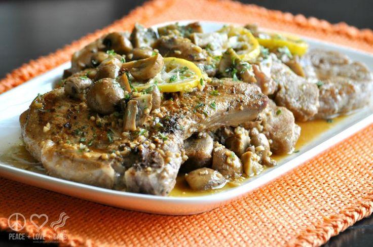 Lemon Garlic Pork Steaks with Mushrooms - Low Carb, Gluten Free