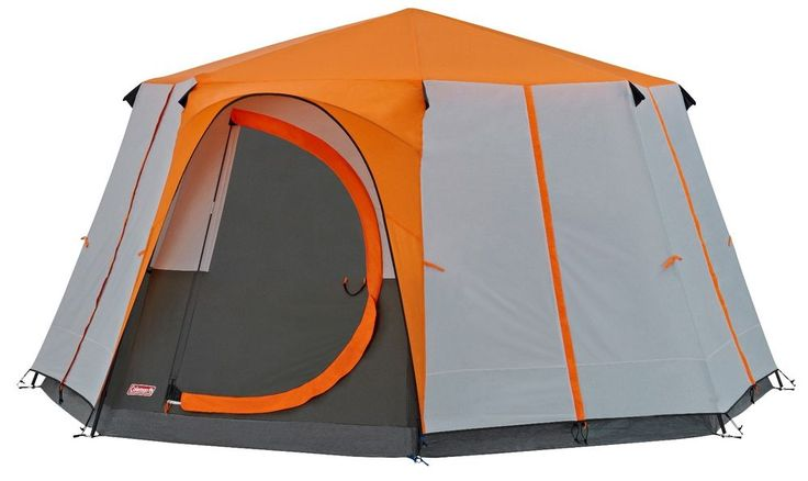 COLEMAN CORTES OCTAGON 8 MAN TENT ORANGE camping festival family glamping luxury #Coleman