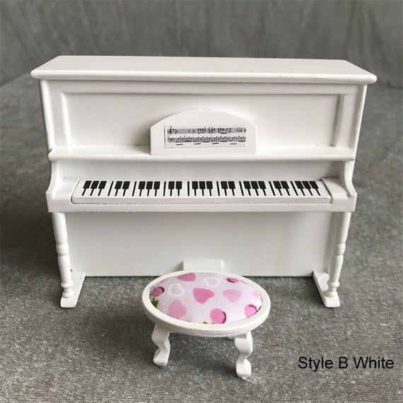1:12 Classical Grand White Piano With Stool Dollhouse Miniature Fairy Gift DIY.