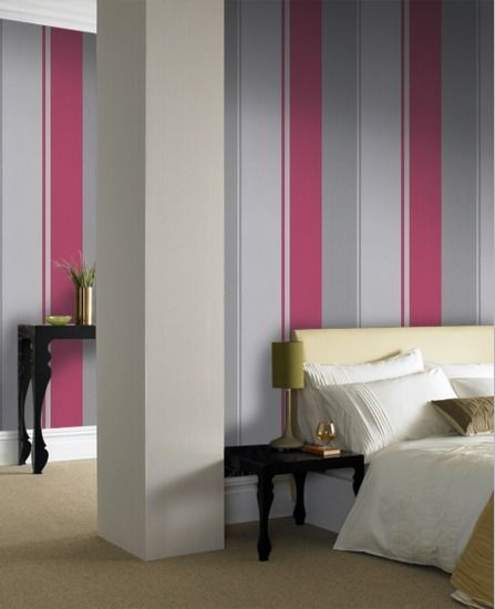 Pink striped wallpaper for bedroom 445 superfresco - Pink and white striped wallpaper bedroom ...