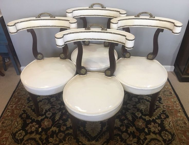 4 Hollywood Regency Klismos Dorothy Draper Style Brass Tack & Handle Chairs  | eBay