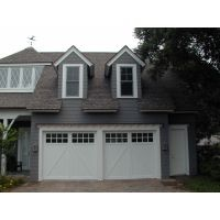 One Double Garage Door, Painted White, Square Top With Windows, Vertical V