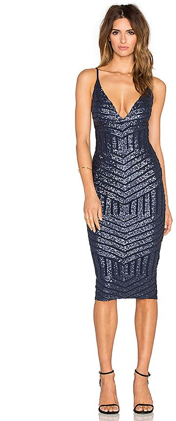 Shine bright like a sapphire on New Year's Eve in this Navy Sequin Slip Dress