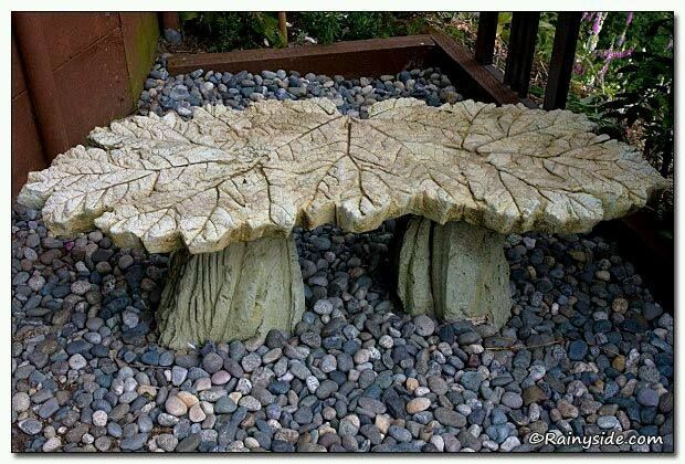 Concrete bench made from leaf castings.