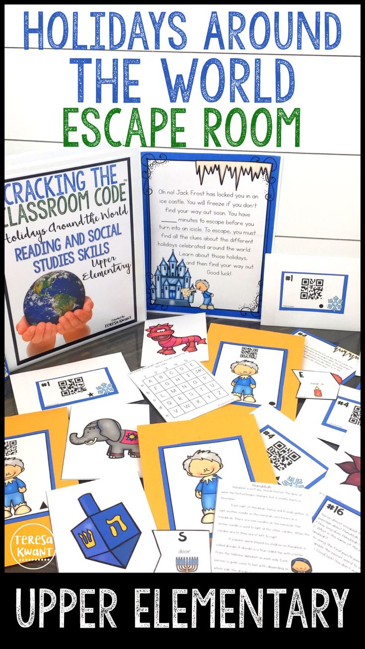 This is a fun escape room for your upper elementary students. They are trying to escape an ice castle that Jack Frost has locked them in. Your students must collect different clues from holidays around the world to escape. Students will practice reading skills, while also learning about different cultures and traditions. This activity is perfect for 3rd grade, 4th, grade, 5th grade, and even 6th grade students. Use this game in your holidays around the world unit this winter season!