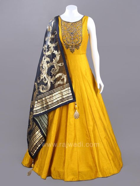 2657f54bff Dark Gold Raw Silk Anarkali with Lycra matching bottom and contrast Tissue  Silk Dark Navy Blue dupatta to complete the look. Enhanced with golden  embroidery ...
