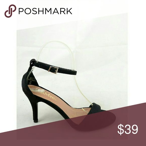 "Black Strap Heels @blushonme at Poshmark   BLACK faux Suede Strap Heels   ALSO AVAILABLE IN BROWN!  Heel - Approx 3""  Note: I usually wear a 6, but for this pair I went down half a size. Stock photo used to show ways to style. Not actual item.  Stock photo used to show similar style.   ● PRICE IS FIRM ● Box not included Shoes Heels"