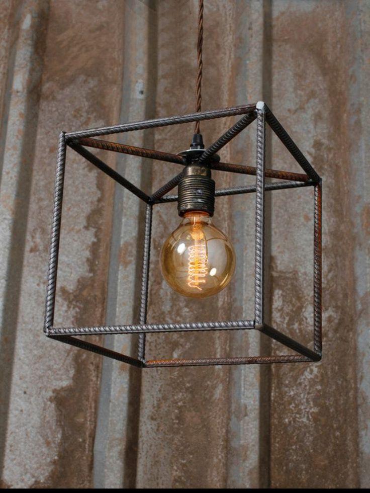 Абажур из арматуры, лампа Эдиссона, светильник лофт, куб
