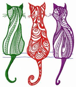 Three cats free embroidery design