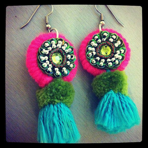 Pink Olive & Aqua Tassel Earrings by hioctanejewelry on Etsy, $28.00