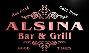 u00683-r ALSINA Family Name Bar & Grill Cold Beer Neon Light Sign Enseigne Lumineuse