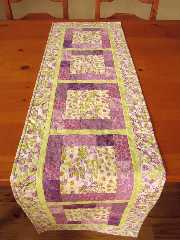 Quilted Table Runner Purple Floral