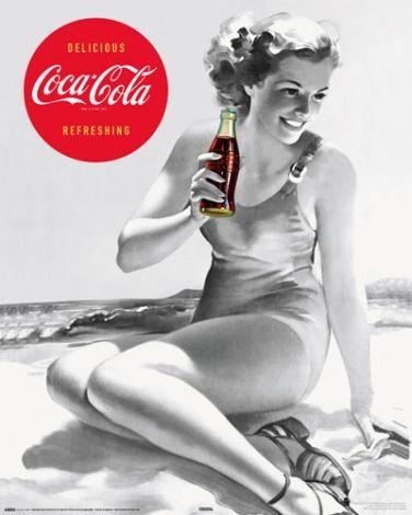 Coca-Cola - Kobieta na plaży - plakat - 40x50 cm  Gdzie kupić? www.eplakaty.pl