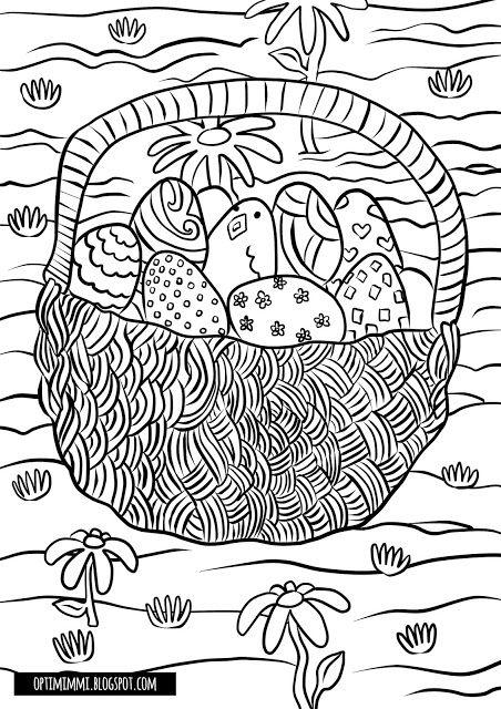 OPTIMIMMI | A free coloring page of an Easter basket filled with eggs / Ilmainen värityskuva pääsiäiskorista, joka on täynnä munia