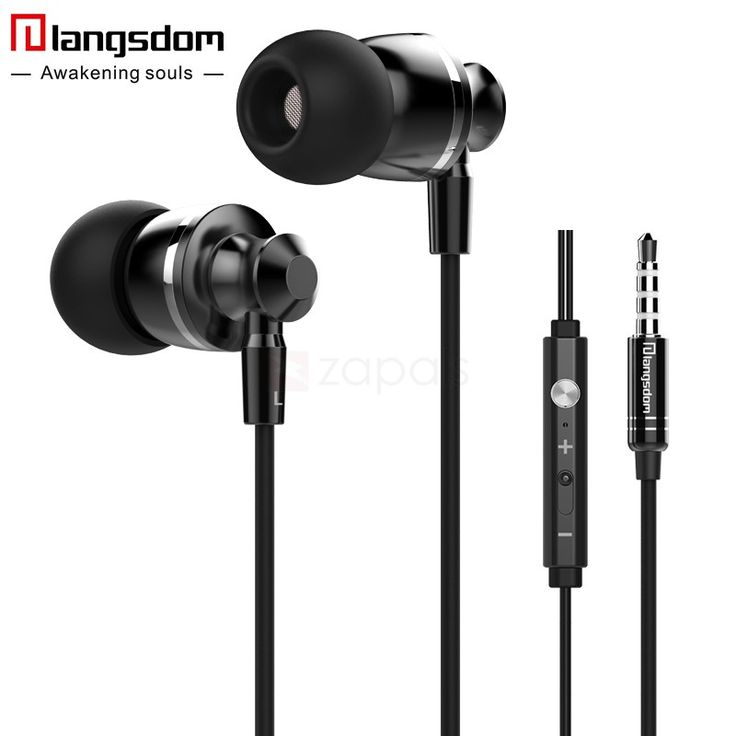 Langsdom M300 3.5mm Plug In-ear Earphone Metal Bass Headphone w/ Mic for Android iOS