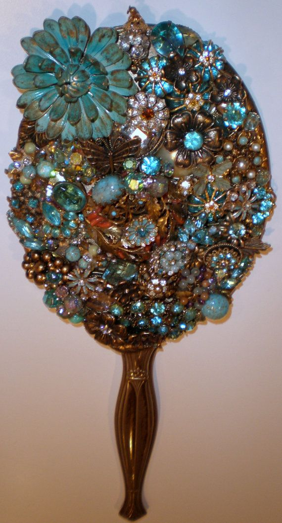 vintage jewel mosaic hand held mirrors by arcmosaics on Etsy, $125.00