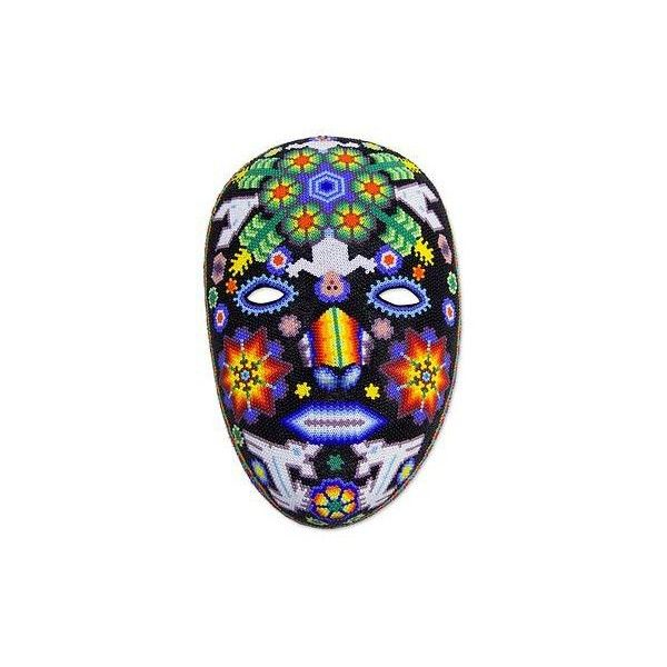 NOVICA Huichol Papier Mache Peyote Mask ($144) ❤ liked on Polyvore featuring home, home decor, masks, mexican huichol masks, novica masks, novica home decor, mexican home decor, star home decor and deer home decor