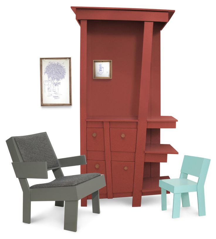 furniture collection | TOM FRENCKEN | low chair, childrens chair and big cabinet.