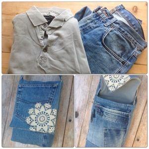 När sambon var på älgjakt passade jag på att sy en väska av hans gamla kläder. I det här fallet ett par gamla trasiga jeans och en gammal pikétröja. En liten virkad duk kom också till användning. D…