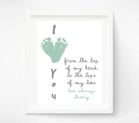 Gift for Grandparents - Mint I Love You Baby Footprint Art - Personalized First Mother's Day Gift - Gift for New Grandma via Etsy