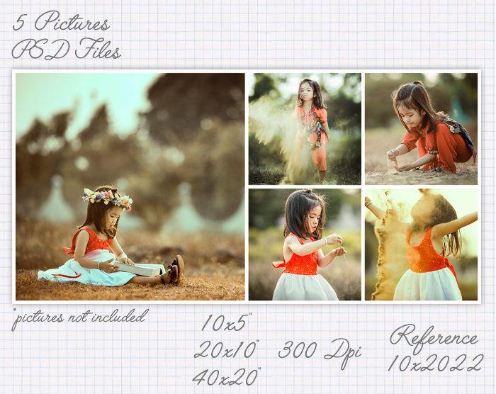 Plantilla foto collage storyboard 5x10 10x5 10x20 20x10 20x40 40x20 pulgadas apaisado y retrato (5 fotos) ref 10x20022 de JuanmiDesigns en Etsy