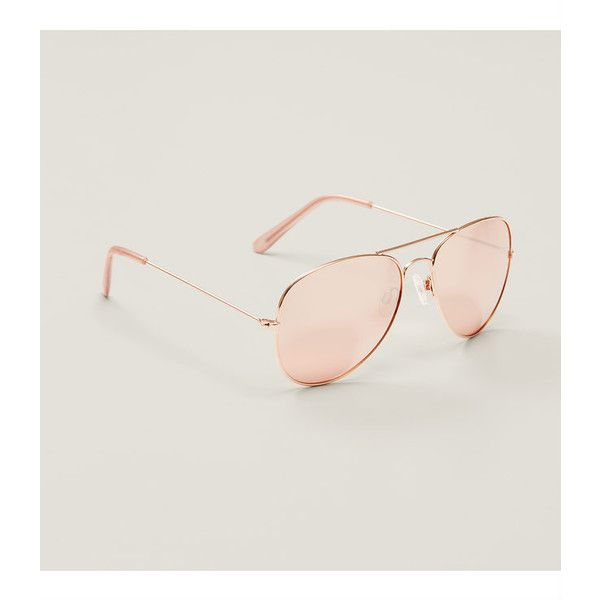 LOFT Gilded Aviator Sunglasses (90 BRL) ❤ liked on Polyvore featuring accessories, eyewear, sunglasses, rose gold, uv protection glasses, aviator sunglasses, aviator style sunglasses, rose gold aviators and rose gold sunglasses