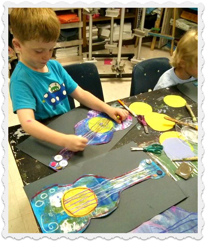Picasso Inspired Guitars Kindergarten - Young Art Love