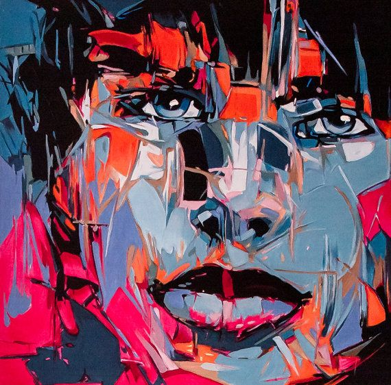 Abstract portrait2  50x50 by SztuknijSie on Etsy