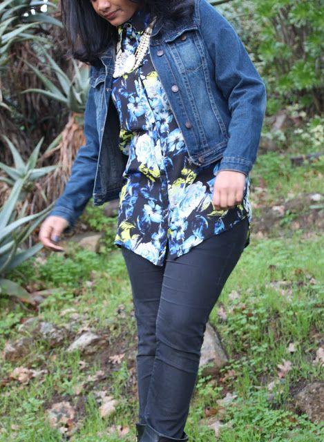 #denim #floral #denimjacket #jackets #winter #vintage #jewelry #pearls #style #fashion #styleblogger #crinkledreese
