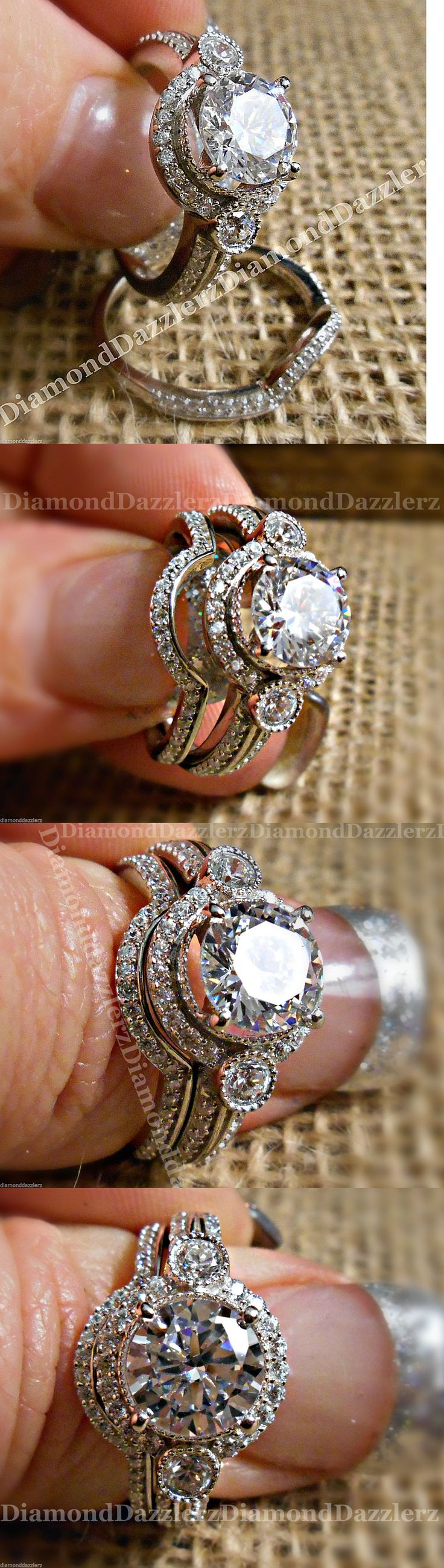 CZ Moissanite and Simulated 92878: 3Pc *Private Lab White Sapphire Halo Engagement Ring Wedding Set Sterling Silver BUY IT NOW ONLY: $99.99